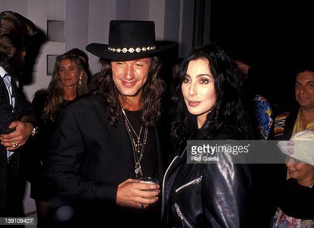 Musician Richie Sambora and singer/actress Cher attend Richie Sambora's Stranger in This Town Album Release Party on September 4 1991 at Griffith...
