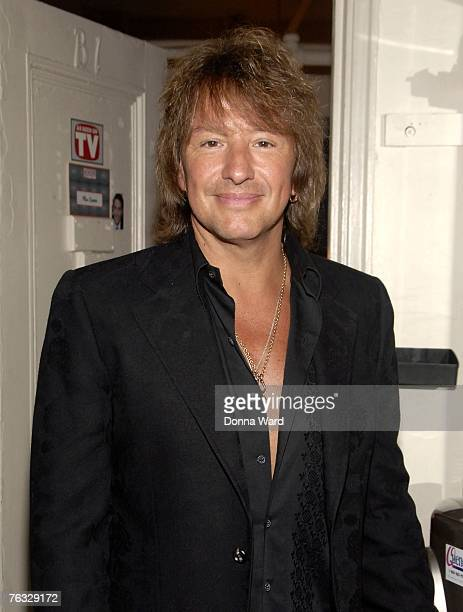 Musician Richie Sambora poses backstage at the musical 'Grease' in The Brooks Atkinson Theatre in Times Square August 25 2007 in New York City