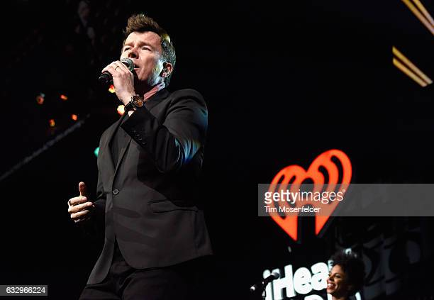 Musician Rick Astley performs on stage during the iHeart80s Party 2017 at SAP Center on January 28 2017 in San Jose California