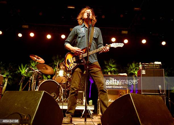 Musician Rick Froberg of Drive Like Jehu performs onstage during day 2 of the 2015 Coachella Valley Music Arts Festival at the Empire Polo Club on...