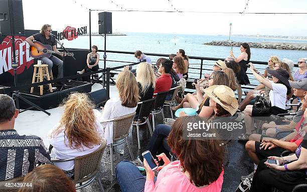 Musician Rick Springfield performs during the Rick Springfield Rocks The Boat For Ricki and the Flash event on July 30 2015 in Marina del Rey...