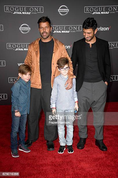 Musician Ricky Martin and Jwan Yosef and Valentino Martin and Matteo Martin attend the premiere of Walt Disney Pictures and Lucasfilm's Rogue One A...