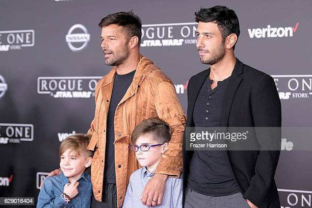 Musician Ricky Martin and Jwan Yosef and Valentino Martin and Matteo Martin attend the premiere of Walt Disney Pictures and Lucasfilm's 'Rogue One A...