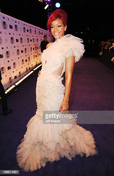 Musician Rihanna attends the MTV Europe Music Awards 2010 at La Caja Magica on November 7, 2010 in Madrid, Spain.