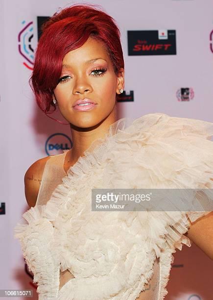 Musician Rihanna attends the MTV Europe Music Awards 2010 at La Caja Magica on November 7, 2010 in Madrid, Spain.