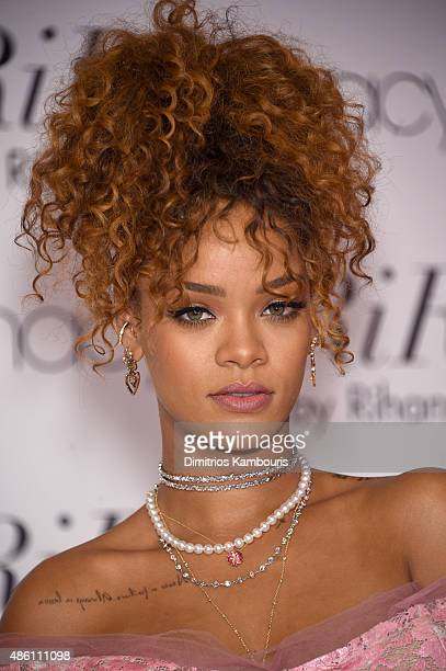Musician Rihanna attends the RiRi by Rihanna fragrance unveiling at Macy's Downtown Brooklyn on August 31 2015 in New York City