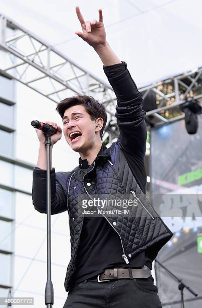 Musician Riley McDonough of Before You Exit performs onstage during KIIS FM Jingle Ball Village at Staples Center on December 5 2014 in Los Angeles...