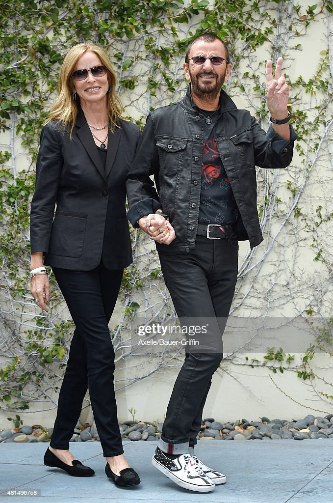 Musician Ringo Starr and actress Barbara Bach attend Ringo Starr's birthday fan gathering at Capitol Records on July 7, 2015 in Hollywood, California.