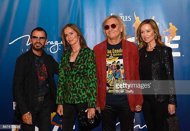 Musician Ringo Starr and his wife actress Barbara Bach and musician Joe Walsh and his wife Marjorie Bach attend the 10th anniversary celebration of...