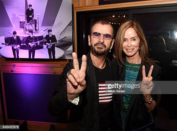 """Musician Ringo Starr and his wife Barbara Bach pose at Ringo Starr's """"Peace & Love"""" birthday celebration at Capitol Records on July 7, 2016 in Los..."""