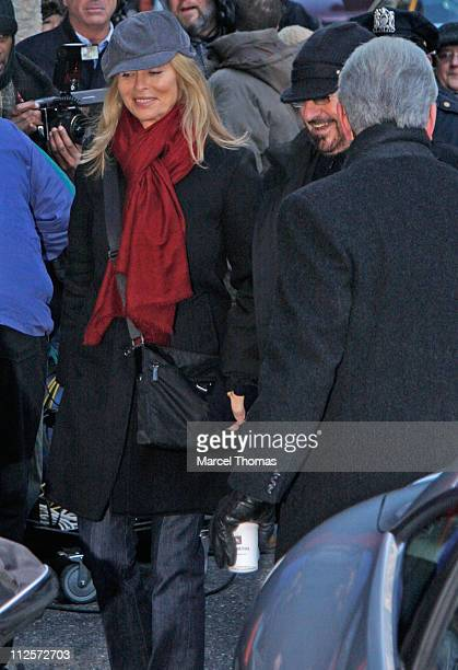 """Musician Ringo Starr and wife Barbara Bach visit """"Late Show with David Letterman"""" at the Ed Sullivan Theater on January 21, 2008 in New York City."""