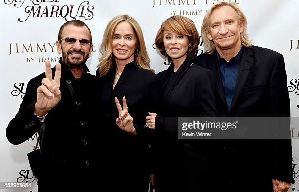 Musician Ringo Starr his wife Barbara Bach her sister Marjorie Bach and her husband musician Joe Walsh pose at a private reception and dinner for...