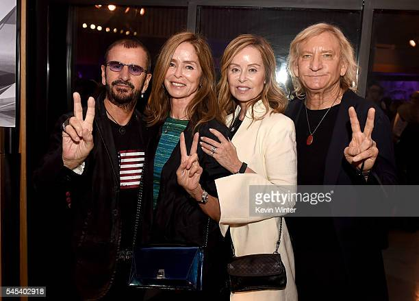 Musician Ringo Starr his wife Barbara Bach her sister Marjorie Bach and her husband musician Joe Walsh pose at Ringo Starr's Peace Love birthday...