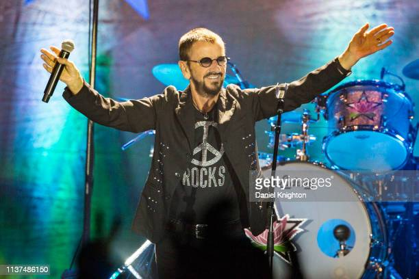 Musician Ringo Starr of Ringo Starr And His All Starr Band performs on stage at Harrah's Resort Southern California on March 21, 2019 in Valley...