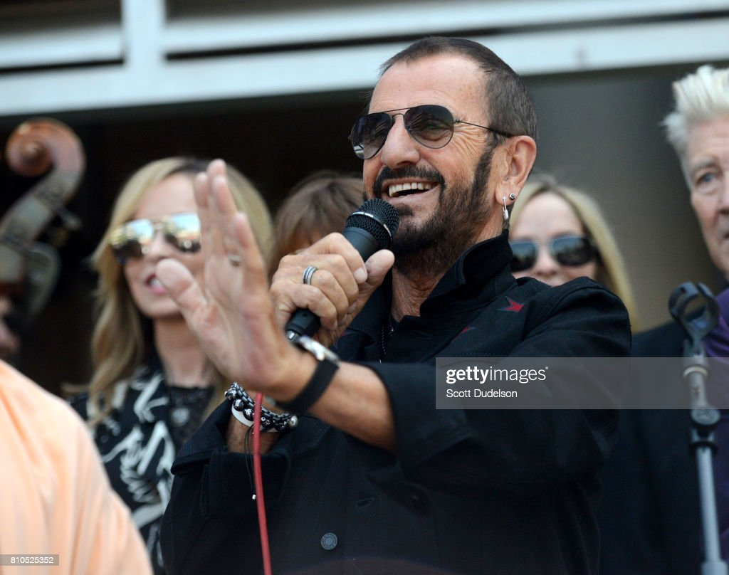 Musician Ringo Starr of The Beatles celebrates his 77th birthday with friends and fans at the annual 'Peace & Love' celebration at Capitol Records Tower on July 7, 2017 in Los Angeles, California.