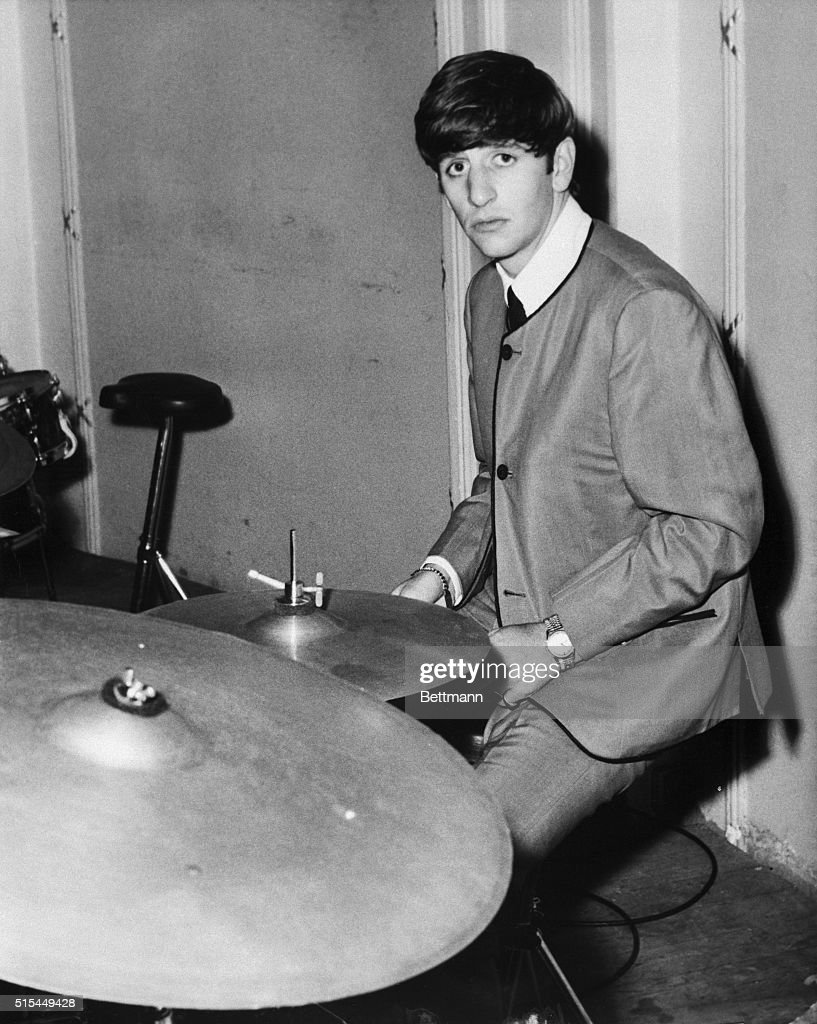 Musician Ringo Starr Of The Beatles Playing Drums In 1963