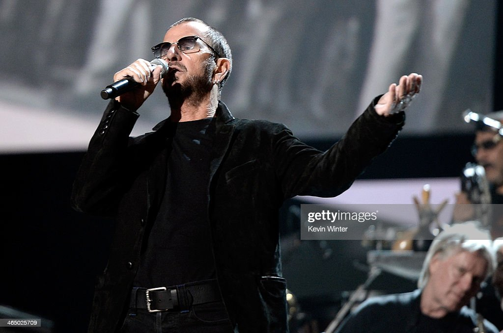 Musician Ringo Starr rehearses onstage during the 56th GRAMMY Awards at Staples Center on January 25, 2014 in Los Angeles, California.