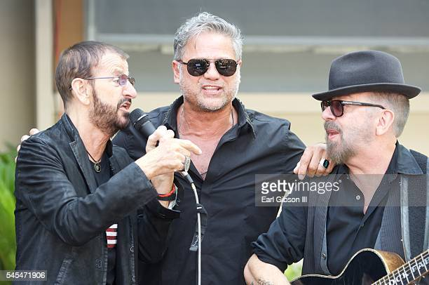 Musician Ringo Starr singer Jon Stevens and musician Dave Stewart perform at Ringo Starr's 'Peace and Love' birthday celebration at Capitol Records...