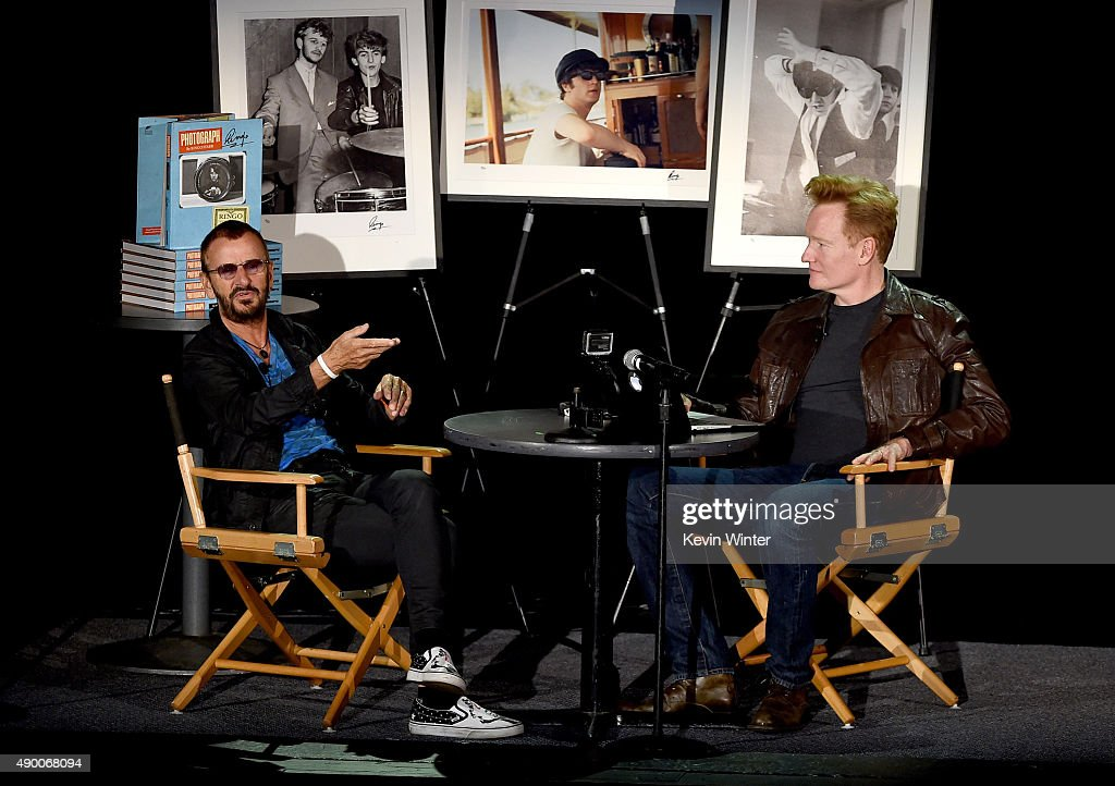 Musician Ringo Starr (L)speaks with comedian Conan O'Brien about his book PHOTOGRAPH on September 25, 2015 in Los Angeles, California.