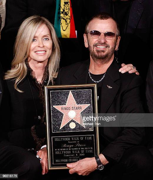 Musician Ringo Starr with his wife Barbara Bach attend the 50th Anniversary Celebration of The Walk Of Fame by honoring him with a Star on February 8...