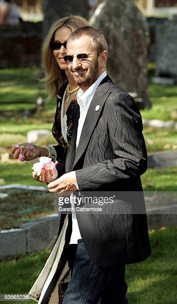 Musician Ringo Starr with wife Barbara Bach attends the wedding of musician Jools Holland and Christabel McEwen at St James's Church Cooling on...
