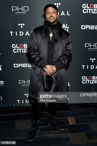 Musician Ro James attends a preGrammy celebration cohosted by Global Citizen Tidal and French Montana at PhD Rooftop Lounge at Dream Downtown on...