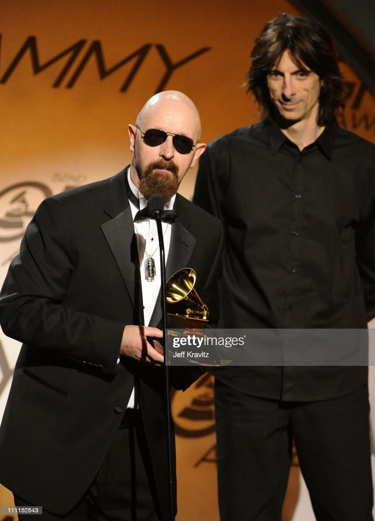 Musician Rob Halford and Scott Travis of Judas Priest speak onstage during the 52nd Annual GRAMMY Awards pre-telecast held at Staples Center on January 31, 2010 in Los Angeles, California.