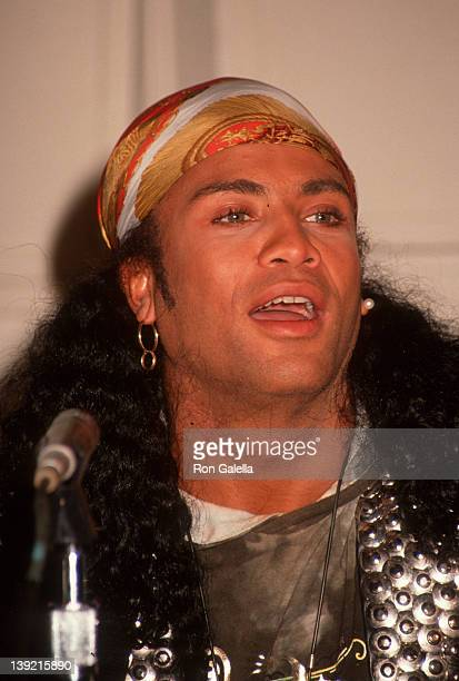 Musician Rob Pilatus of Milli Vanilli attends Milli Vanilli Press Conference on November 20 1990 at Ocean Way Recording Studios in Hollywood...