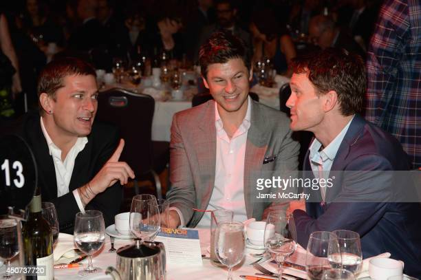 Musician Rob Thomas and actors David Burtka and Neil Patrick Harris attend the Trevor Project's 2014 'TrevorLIVE NY' Event at the Marriott Marquis...
