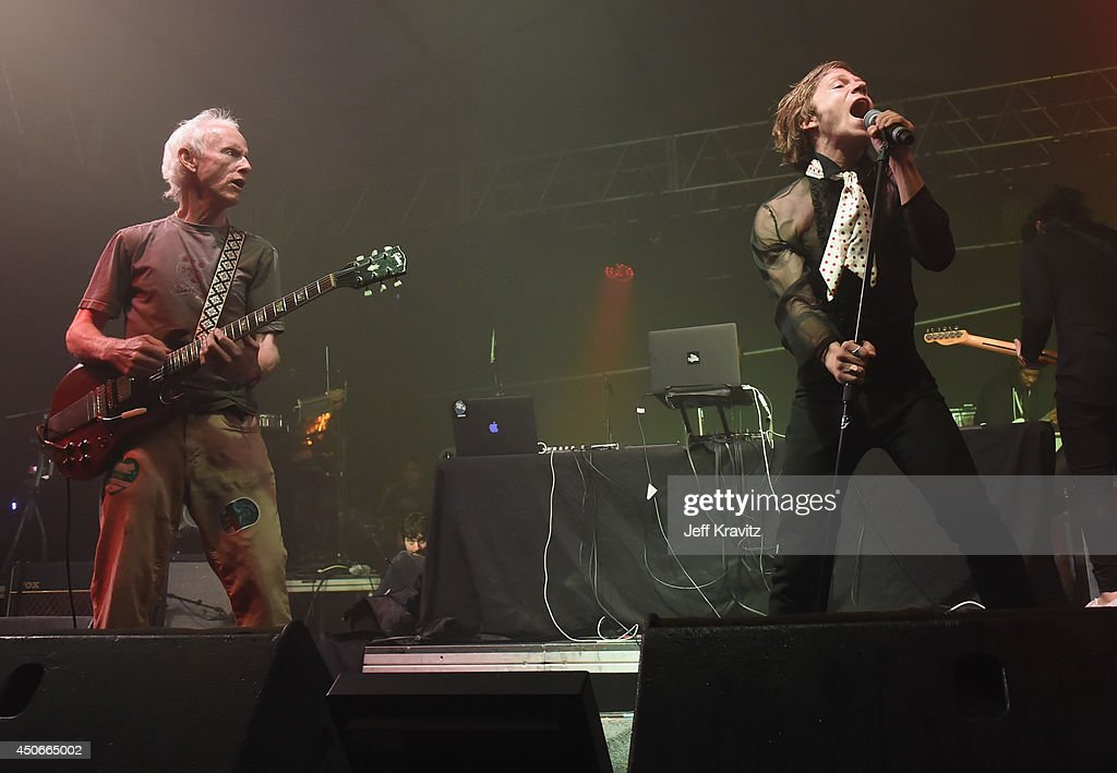 Musician Robby Krieger (L) and guests perform during the Superjam onstage at This Tent during day 3 of the 2014 Bonnaroo Arts And Music Festival on June 14, 2014 in Manchester, Tennessee.