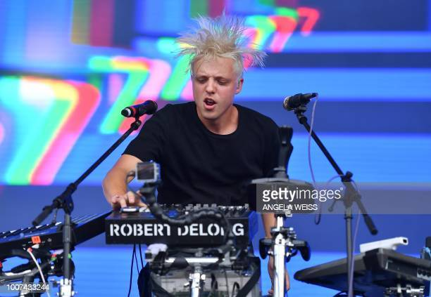 US musician Robert DeLong performs during the Panorama Music Festival on Randall's Island on July 29 2018 in New York