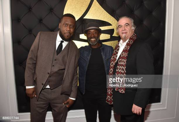 Musician Robert Glasper actor/director Don Cheadle and producer Steve Berkowitz attend The 59th GRAMMY Awards at STAPLES Center on February 12 2017...