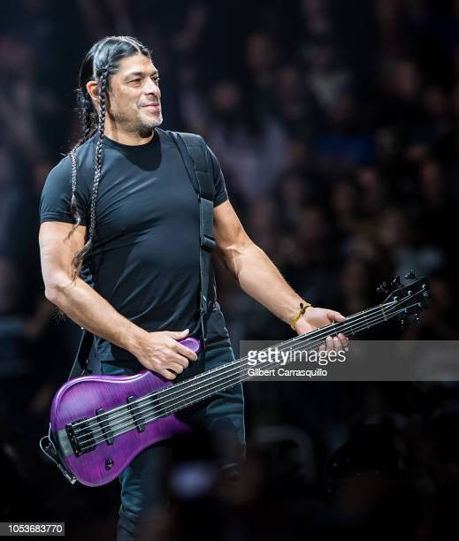 Musician Robert Trujillo of Metallica performs during Metallica WorldWired Tour at Wells Fargo Center on October 25 2018 in Philadelphia Pennsylvania