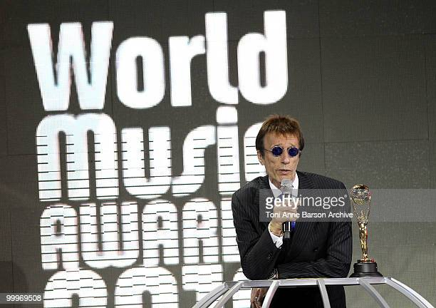 Musician Robin Gibb speaks onstage during the World Music Awards 2010 at the Sporting Club on May 18 2010 in Monte Carlo Monaco
