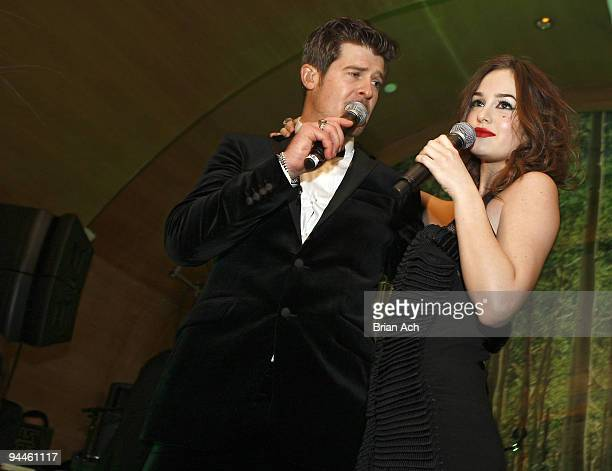 Musician Robin Thicke and actress and musician Leighton Meester attend the album release party at Butter on December 15 2009 in New York City