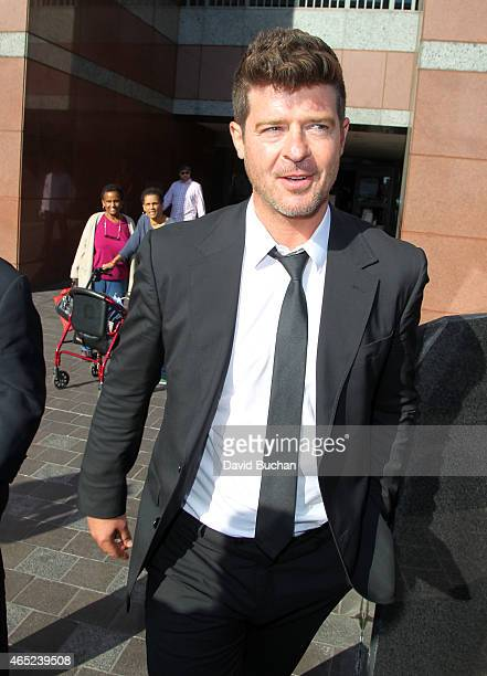 Musician Robin Thicke is seen outside the Roybal Federal Building on March 4 2015 in Los Angeles California Thicke and cowriters of the song 'Blurred...