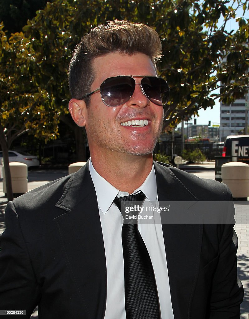 """Blurred Lines"" Musicians Robin Thicke And Pharrell Williams Lawsuit By Children Of R&B Legend Marvin Gaye Trial : News Photo"