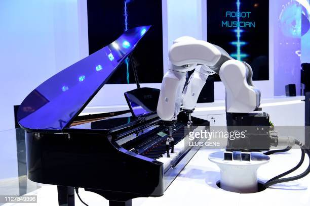 ZTE musician robot plays the piano at the Mobile World Congress in Barcelona on February 25 2019 Phone makers will focus on foldable screens and the...
