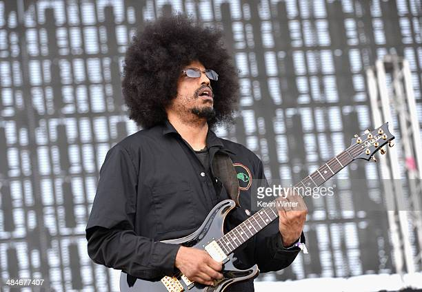 Musician Rocky George of Fishbone performs onstage during day 3 of the 2014 Coachella Valley Music Arts Festival at the Empire Polo Club on April 13...