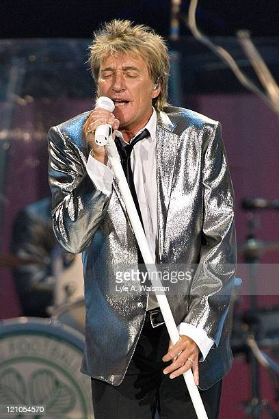 Musician Rod Stewart performs live at the Sears Centre Arena August 6, 2008 in Hoffman Estates, Illinois.