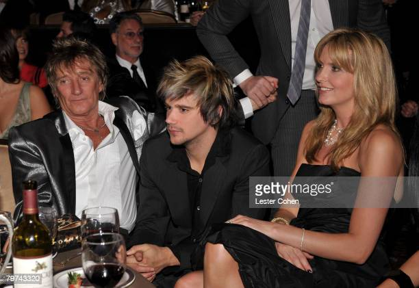 Musician Rod Stewart Sean Stewart and Penny Lancaster during the 2008 Clive Davis PreGRAMMY party at the Beverly Hilton Hotel on February 9 2008 in...