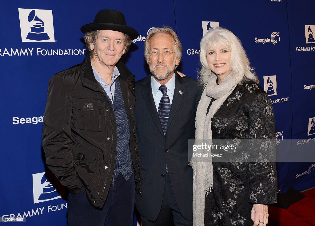 Musician Rodney Crowell, President/CEO of The Recording Academy Neil Portnow, and musician Emmylou Harris arrive at the Music Preservation Project 'Play It Forward' on February 7, 2013 in Los Angeles, California.