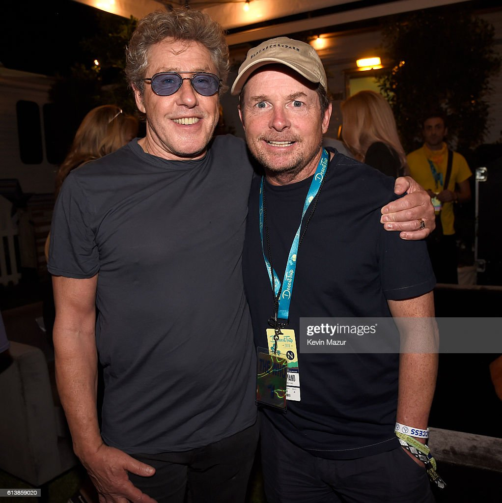Musician Roger Daltrey of The Who (L) and actor Michael J. Fox attend Desert Trip at The Empire Polo Club on October 9, 2016 in Indio, California.