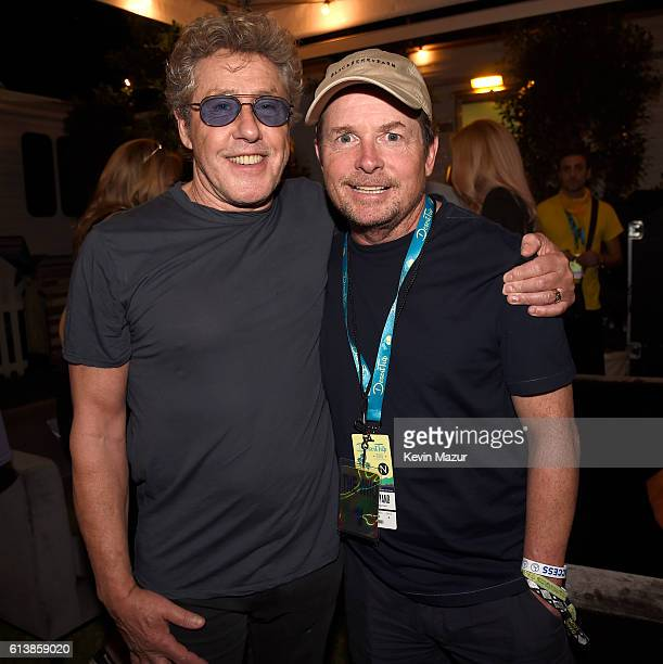 Musician Roger Daltrey of The Who and actor Michael J Fox attend Desert Trip at The Empire Polo Club on October 9 2016 in Indio California