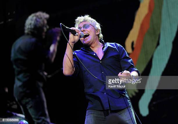 Musician Roger Daltrey of The Who performs onstage during Desert Trip at The Empire Polo Club on October 16, 2016 in Indio, California.