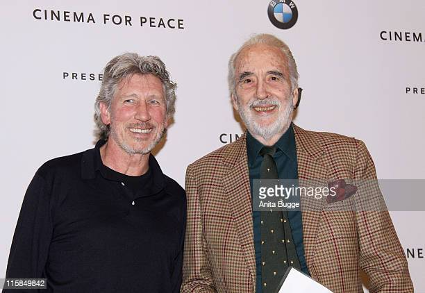 """Musician Roger Waters and actor Christopher Lee attend the """"Cinema for Peace Berlin 2009"""" photocall during the 59th Berlin International Film..."""