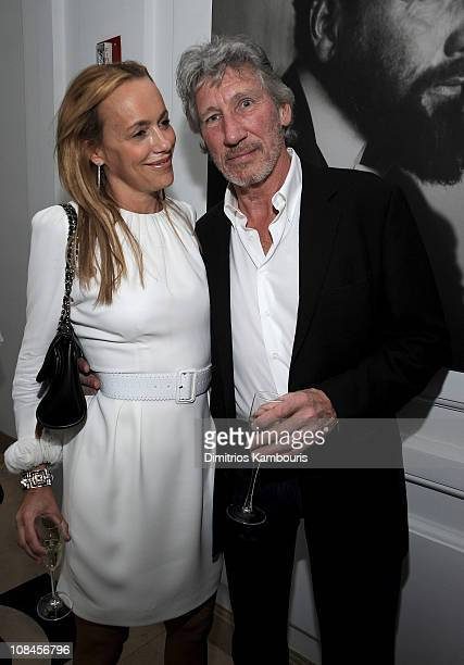 Musician Roger Waters and Laurie Durning attend Tommy Hilfiger's engagement party hosted by Leonard and Evelyn Lauder at Neue Galerie on June 9 2008...