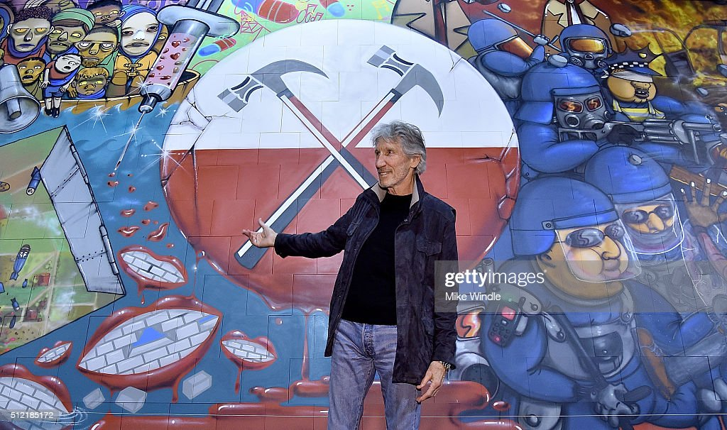 Musician Roger Waters attends in celebration of the release of the Limited Edition box set of the film 'Roger Waters The Wall', Roger Waters hosts Los Angeles Event for Brazilian artists Osgemeos' interpretation of 'The Wall' on February 24, 2016 in Los Angeles, California.