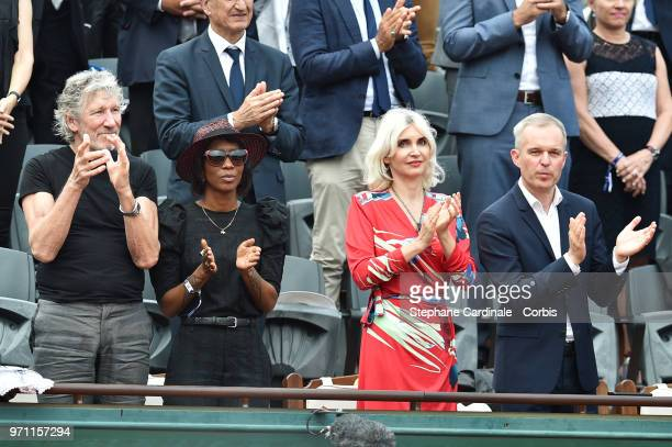 Musician Roger Waters President of the National Assembly Francois de Rugy and his wife Severine Servat attend the Men Final of the 2018 French Open...