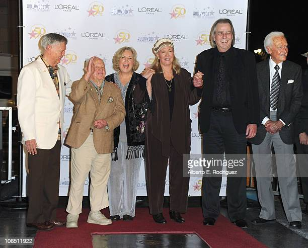 Musician Roger Williams actor Mickey Rooney actress Jan Rooney actress Diane Ladd disc jockey Jim Ladd and TV host Bob Barker attend the Hollywood...